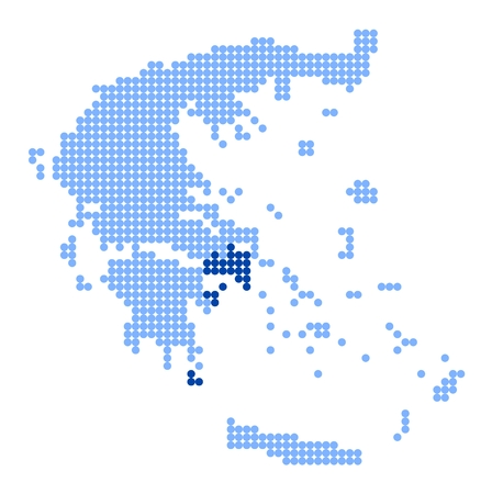 hydra: Map of Greece with stylized map of Attica (region) made from blue dots