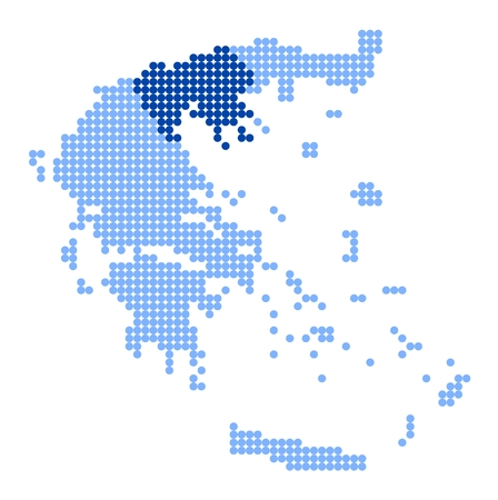 made in greece: Map of Greece with stylized map of Central Macedonia made from blue dots