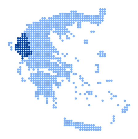 made in greece: Map of Greece with stylized map of Epirus (Epirus Region) made from blue dots Illustration