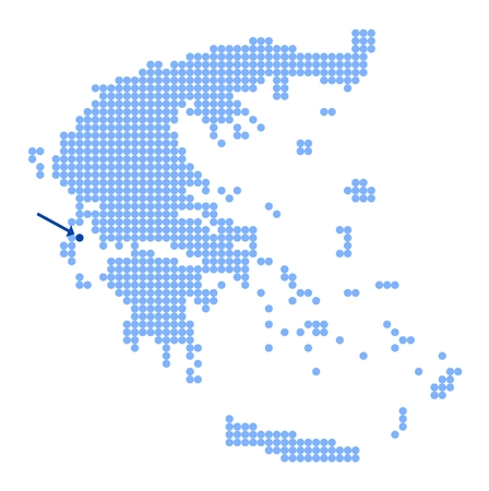 made in greece: Map of Greece with stylized map of Ithaca (Ithaka) made from blue dots