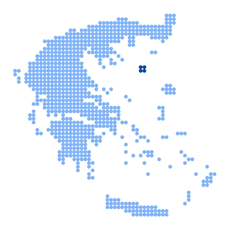 aegean: Map of Greece with stylized map of Lemnos made from blue dots