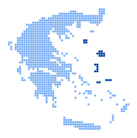aegean: Map of Greece with stylized map of North Aegean made from blue dots