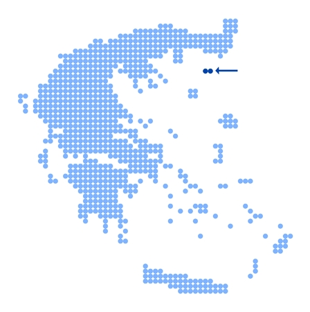 aegean: Map of Greece with stylized map of Samothrace made from blue dots