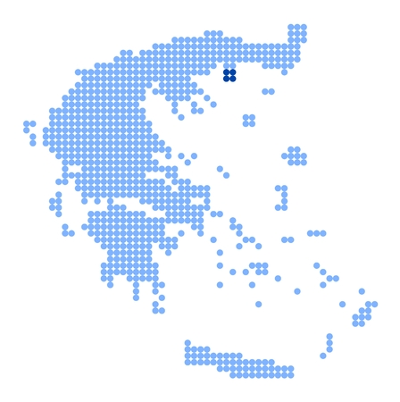 aegean: Map of Greece with stylized map of Thasos made from blue dots