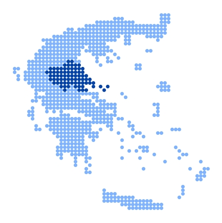 thessaly: Map of Greece with stylized map of Thessaly made from blue dots Illustration