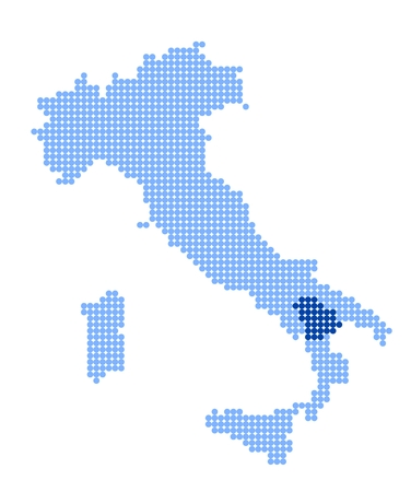Map of Italy with stylized map of Basilicata made from blue dots
