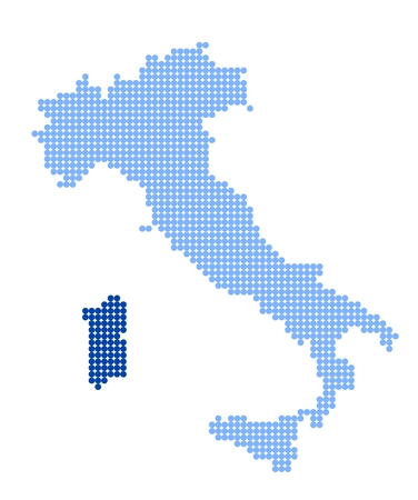 Map of Italy with stylized map of Sardinia made from blue dots