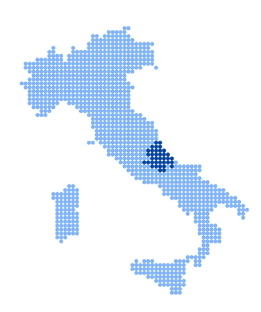 Map of Italy with stylized map of Abruzzo made from blue dots