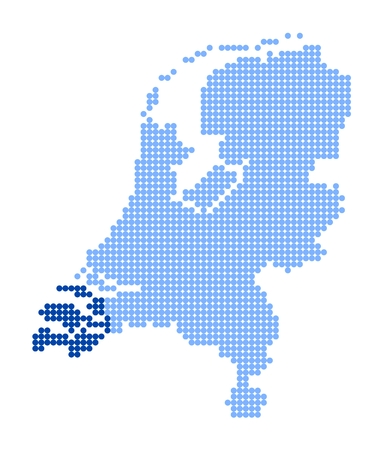 monarchy: Stylized map of Netherlands with map of Zeeland made from blue dots