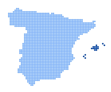 Map of Spain with stylized map of Balearic Islands made from blue dots