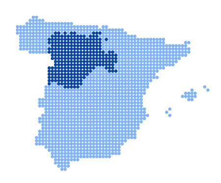 leon: Map of Spain with stylized map of Castile and Leon made from blue dots