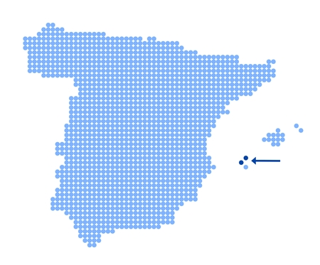 Map of Spain with stylized map of Ibiza made from blue dots Illustration