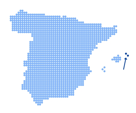 Map of Spain with stylized map of Menorca (Minorca) made from blue dots