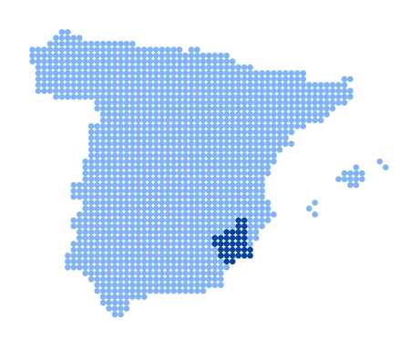 murcia: Map of Spain with stylized map of Region of Murcia made from blue dots