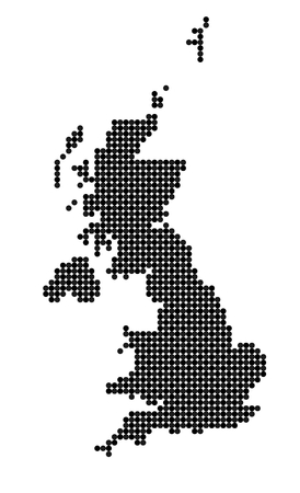 shetland: Map of United Kingdom (UK, United Kingdom of Great Britain and Northern Ireland) made from black and grey dots