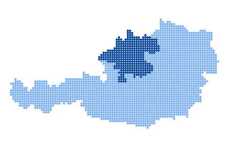 upper austria: Map of Austria with stylized map of Upper Austria made from blue dots
