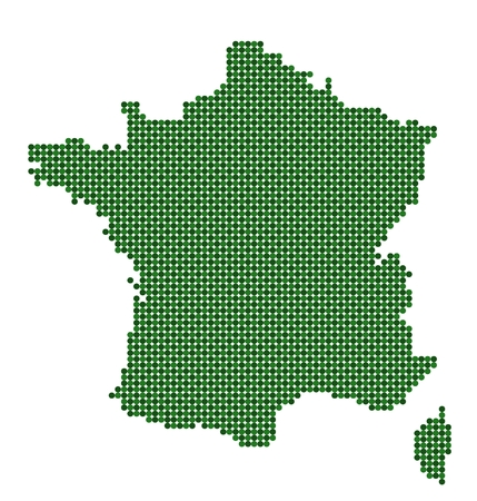 Map of France made from green dots Illustration