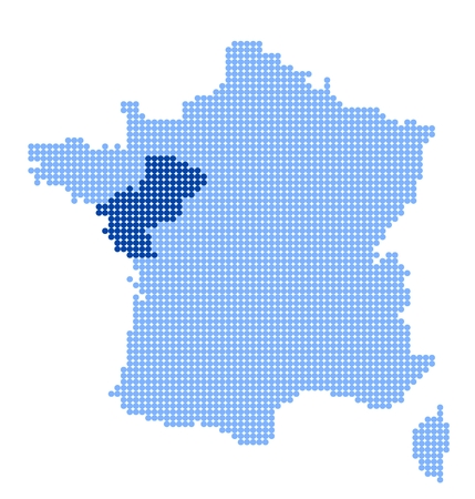 pays: Map of France with map of Pays de la Loire made from blue dots
