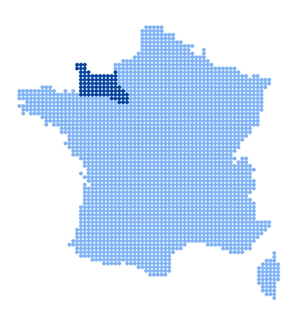 normandy: Map of France with map of Lower Normandy made from blue dots