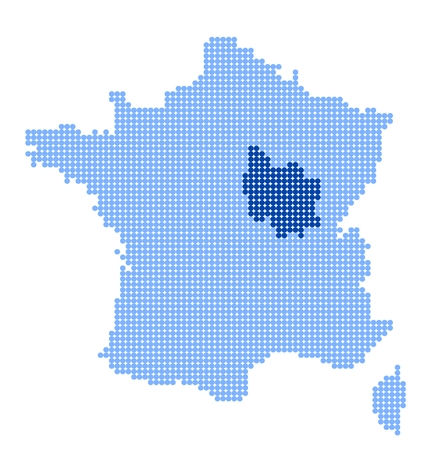 Map of France with map of Burgundy made from blue dots