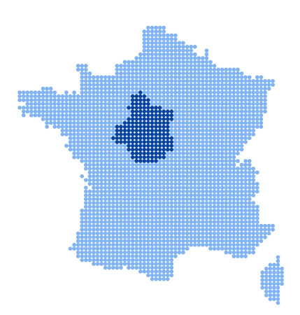 metropolis image: Map of France with map of Centre made from blue dots