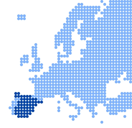 kingdom of spain: Map of Europe (with part of Asia) with stylized map of Spain (Kingdom of Spain) made from blue dots Illustration