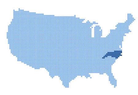 north carolina: Map of USA with stylized map of North Carolina made from blue dots