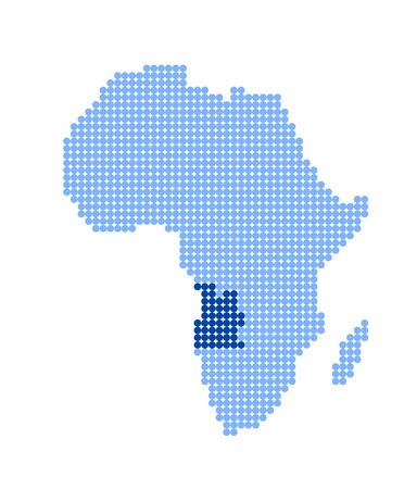 map of angola: Map of Africa with stylized map of Angola (Republic of Angola) made from blue dots