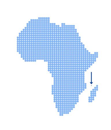 mayotte: Map of Africa with stylized map of Mayotte made from blue dots