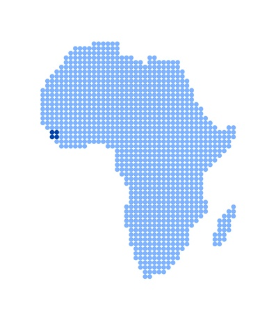 sierra leone: Map of Africa with stylized map of Sierra Leone (Republic of Sierra Leone) made from blue dots