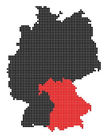 bavaria: Map of Germany with stylized map of Bavaria (Free State of Bavaria) made from black and red dots