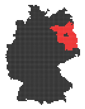 brandenburg: Map of Germany with stylized map of Brandenburg made from black and red dots