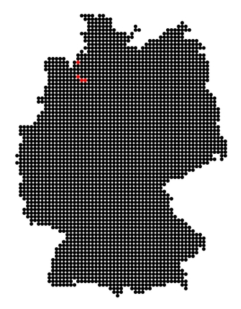 bremen: Map of Germany with stylized map of Bremen (Free Hanseatic City of Bremen) made from black and red dots