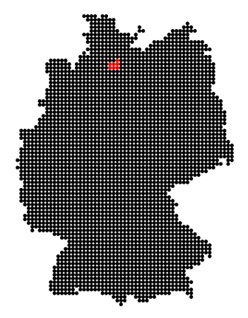 hamburg: Map of Germany with stylized map of Hamburg (Free and Hanseatic City of Hamburg) made from black and red dots Illustration