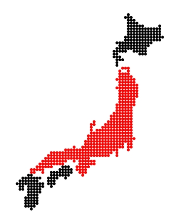 nihon: Stylized map of Japan with map of Honshu made from red and black dots Illustration