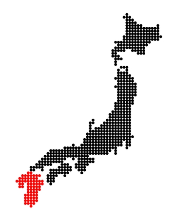 nihon: Stylized map of Japan with map of Kyushu made from red and black dots