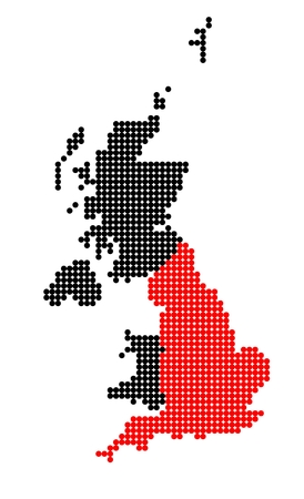 shetland: Map of United Kingdom (UK, United Kingdom of Great Britain and Northern Ireland) with stylized map of England made from dots Illustration