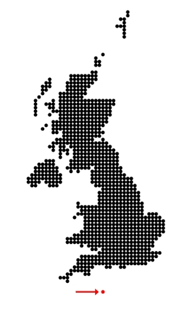 shetland: Map of United Kingdom (UK, United Kingdom of Great Britain and Northern Ireland) with stylized map of Guernsey (Bailiwick of Guernsey) made from dots
