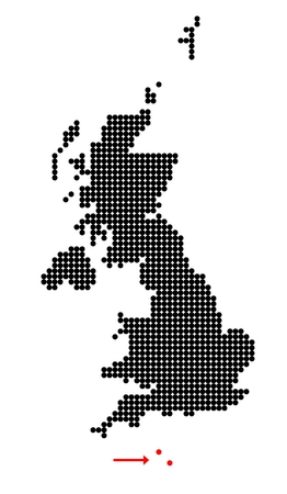 shetland: Map of United Kingdom (UK, United Kingdom of Great Britain and Northern Ireland) with stylized map of Channel Islands (Bailiwick of Jersey and Bailiwick of Guernsey) made from dots