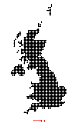 shetland: Map of United Kingdom (UK, United Kingdom of Great Britain and Northern Ireland) with stylized map of Jersey (Bailiwick of Jersey) made from dots