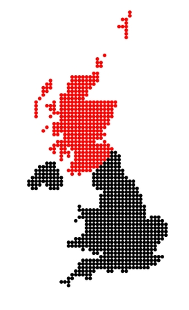 shetland: Map of United Kingdom (UK, United Kingdom of Great Britain and Northern Ireland) with stylized map of Scotland made from dots Illustration