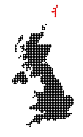 shetland: Map of United Kingdom (UK, United Kingdom of Great Britain and Northern Ireland) with stylized map of Shetland made from dots