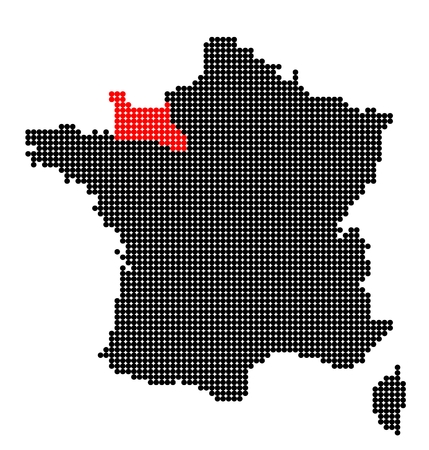 normandy: Map of France with map of Lower Normandy made from black and red dots Illustration