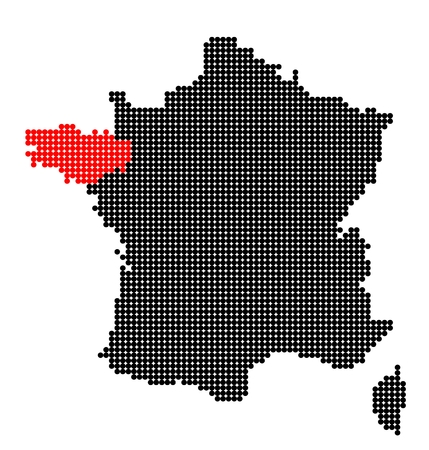 breton: Map of France with map of Brittany made from black and red dots