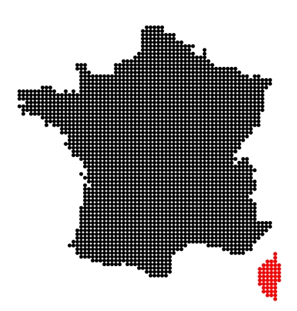 corsica: Map of France with map of Corsica  made from black and red dots