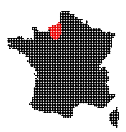 normandy: Map of France with map of Upper Normandy made from black and red dots Illustration