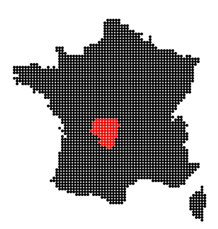 limousin: Map of France with map of Limousin made from black and red dots Illustration