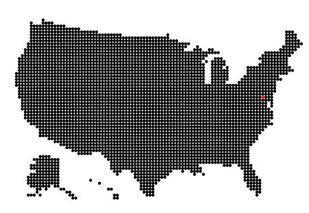 dc: Map of USA with map of Washington, D.C. made from black and red dots Illustration