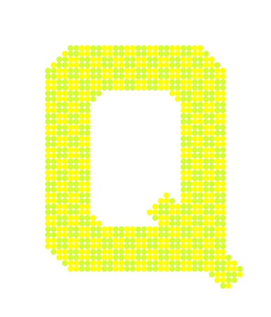 letter q: Letter Q made from dots