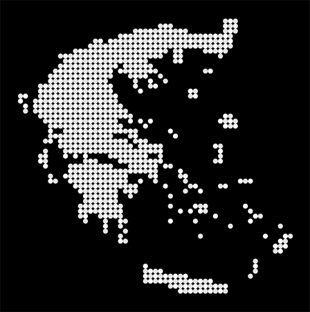 made in greece: Map of Greece made from white and grey dots Illustration